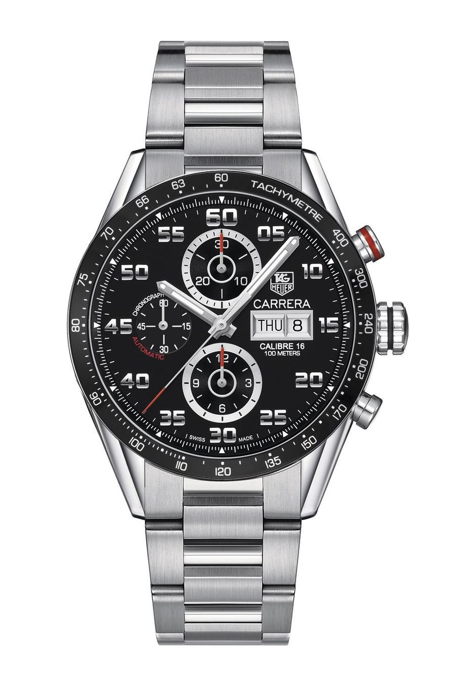 Chronographe Carrera en acier, 43 mm de diamètre, mouvement automatique, bracelet en acier, 4 200 €. TAG Heuer.