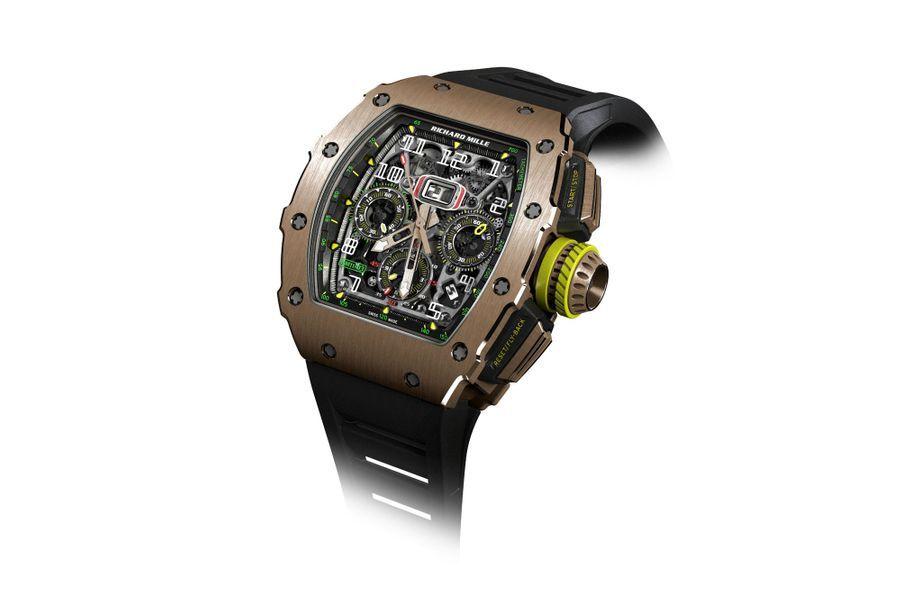RM 11-03, 50 x 44, 5 mm, boîte en or rose, mouvement chronographe automatique avec fonction flyback. 121 500 €. Richard Mille.