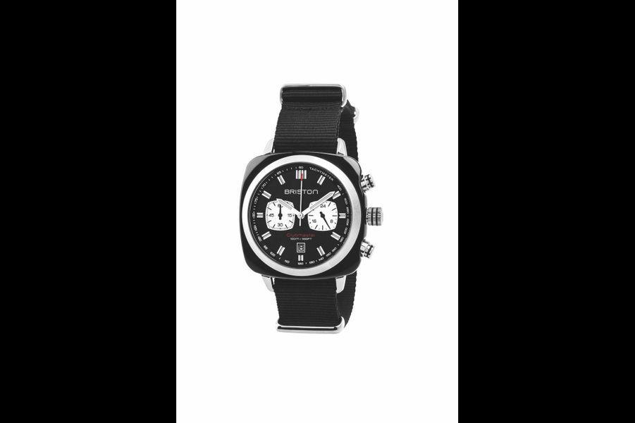 Clubmaster Sport en acétate, 42 mm de diamètre, mouvement chronographe à quartz, bracelet en toile de type NATO, Briston, 310 €.