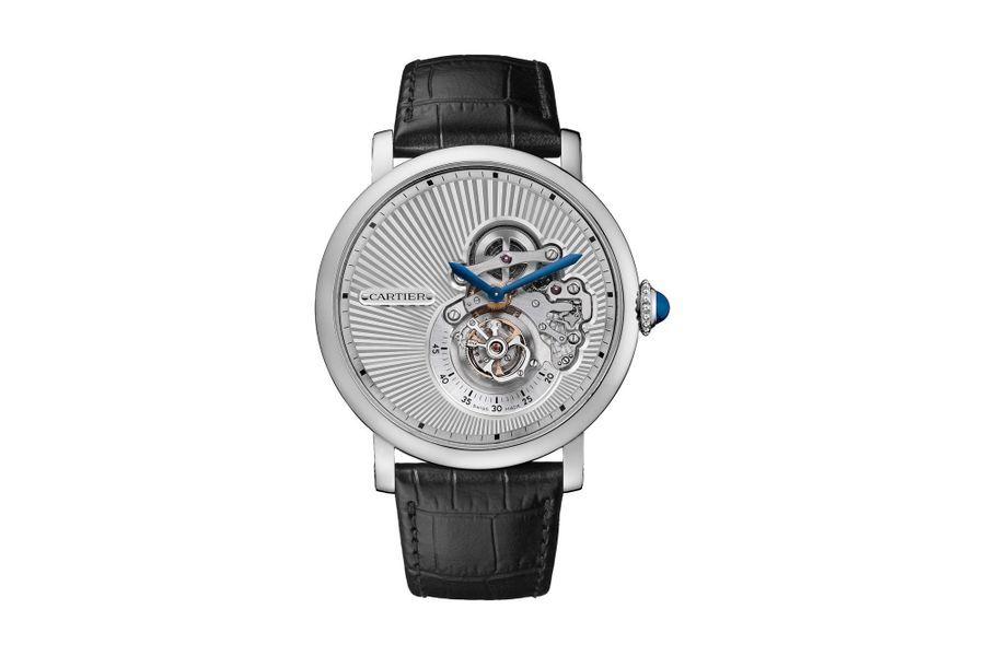 Rotonde de Cartier Tourbillon Volant en or blanc, mouvement à remontage manuel, bracelet en alligator. Cartier. 144 000 €.