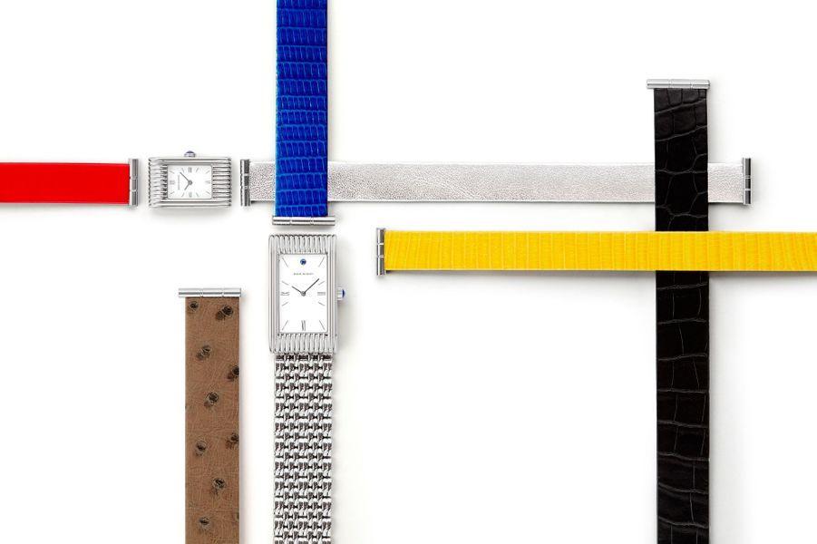 Une interchangeabilité des bracelets qui permet de supprimer la boucle en devenant aussi un fermoir invisible, un brevet Boucheron de 1945. En haut, Reflet petite taille en acier, mouvement à quartz, 2 590 €, en bas, Reflet grade taille en acier, mouvement à quartz, 4 090 €, Boucheron.