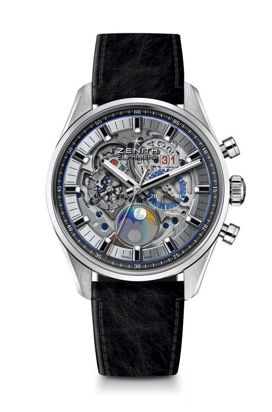 Chronomaster El Primero Grande Date Full Open en acier, 45 mm, mouvement automatique, bracelet en veau. 10 600 €. Zenith.