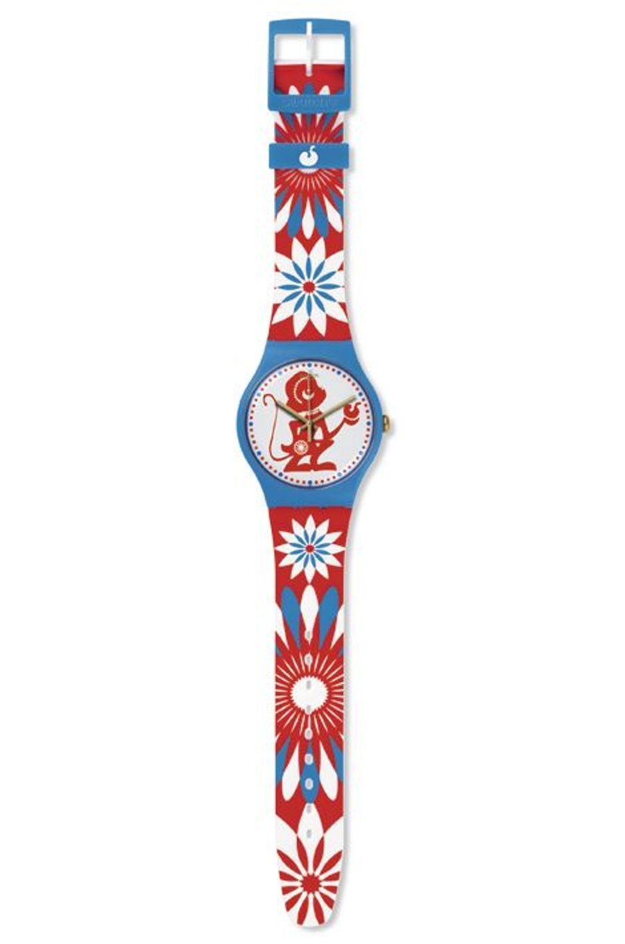 Lucky monkey. Boîte en plastique, bracelet en silicone. 70 €. Swatch.