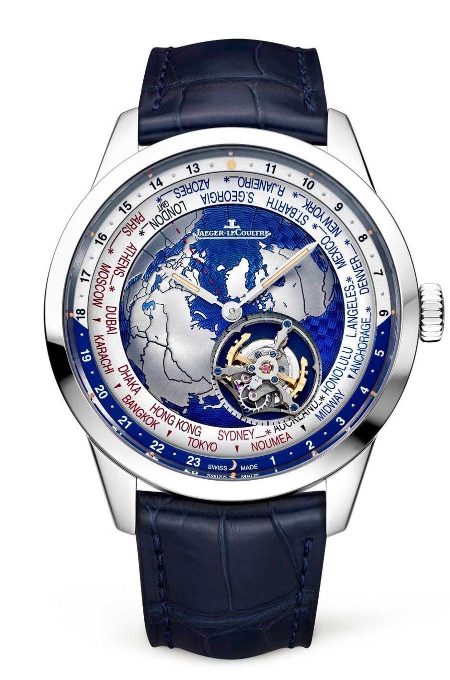 Geophysic en platine, 43, 5 mm de diamètre, mouvement automatique avec tourbillon et heures universelles, bracelet en alligator. Série limitée à 100 exemplaires. Jaeger-LeCoultre, 156 000 €.