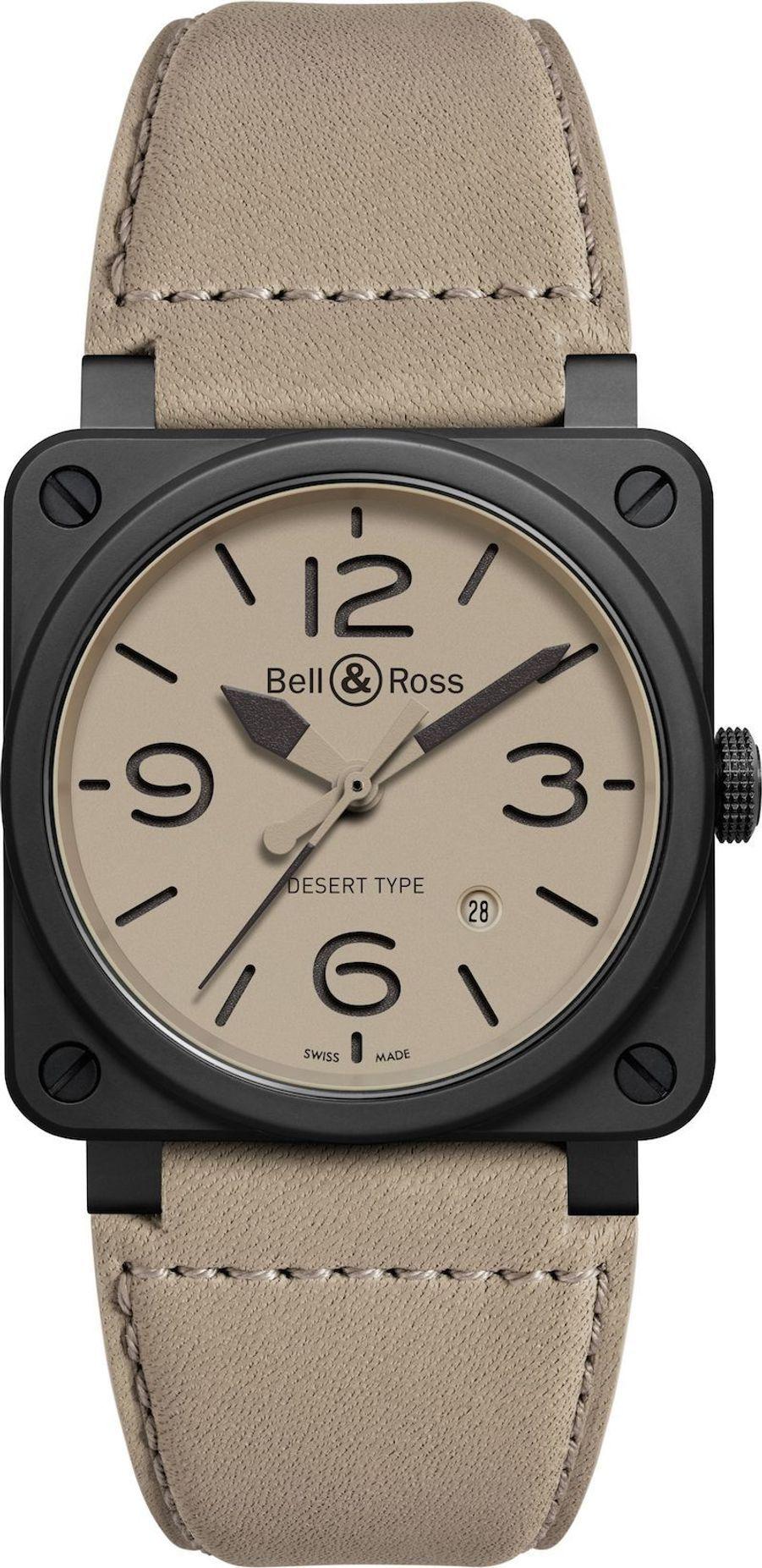 BR03-92 Desert Type, boîte en céramique, 42 mm x 42 mm, bracelet en cuir, mouvement automatique. Bell & Ross. 3 400 €.