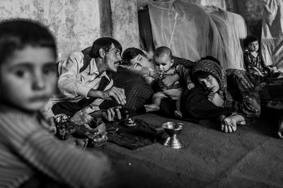 An Afghan man gives his children their daily ration of opium, Northern Afghanistan.