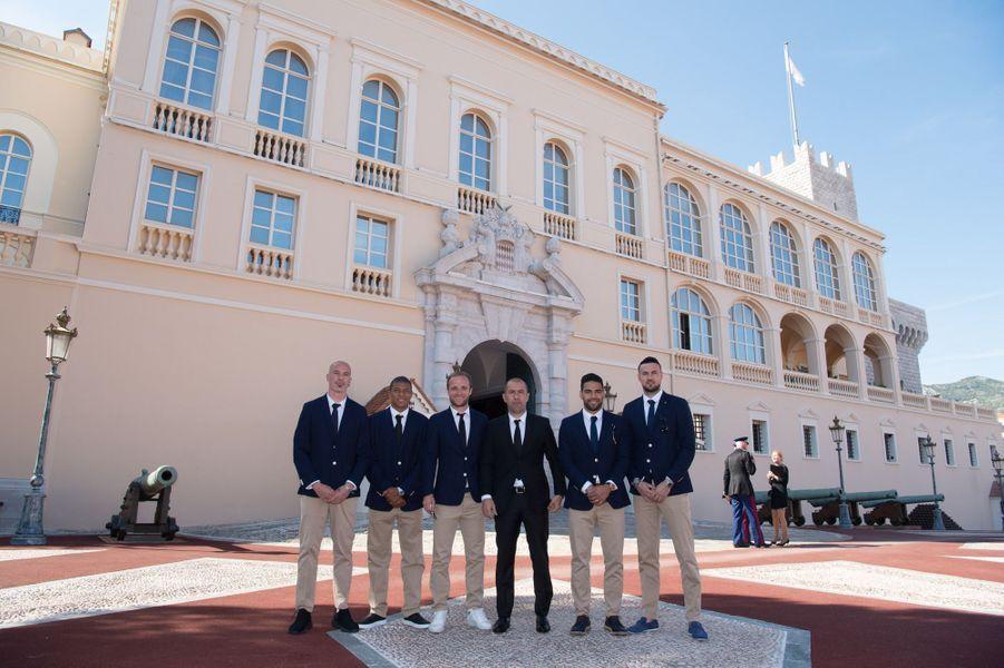 Des membres de l'équipe de l'ASM, à Monaco le 21 mai 2017