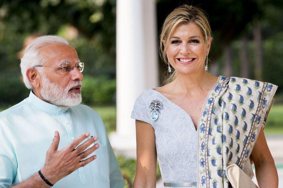 La reine Maxima des Pays-Bas avec le Premier ministre indien Narendra Modi à New Delhi, le 28 mai 2018