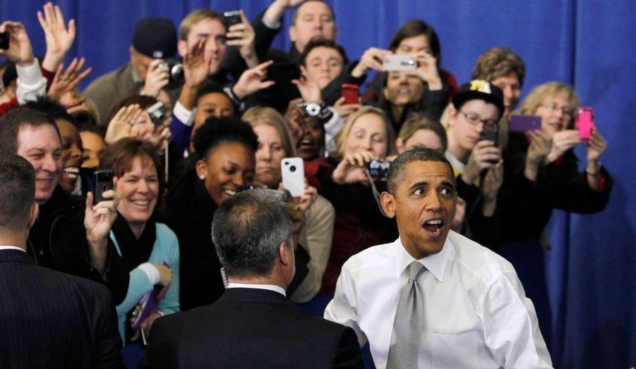 Barack Obama, lors d'une rencontre avec les étudiants de Université du Michigan, à Ann Arbor.
