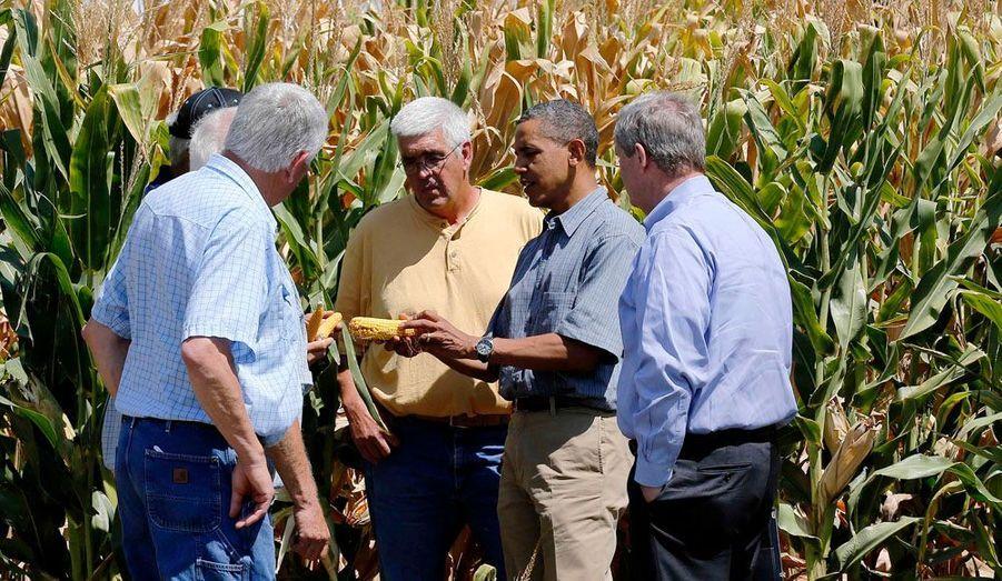 Le président des Etats-Unis Barack Obama a rendu visite à la famille McIntosh dans la ferme de cette dernière, dans Iowa.