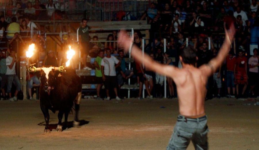 Cet homme provoque un taureau avec des cornes enflammées, lors d'un festival à Amposta, en Catalogne.