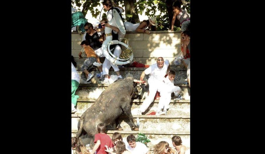 Les spectateurs d'une corrida essayent d'échapper à l'animal bondissant dans les gradins de l'arène de Tafalla en Espagne, mercredi dernier. Au moins 40 personnes ont été blessées.