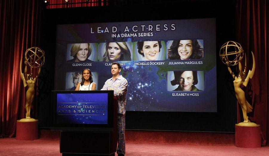 Le présentateur télé Jimmy Kimmel et l'actrice américaine Kerry Washington ont annoncé ce mercredi soir la liste des nominations pour la 64ème édition des Emmy Awards. A noter que la série à succès «Mad Men» a été pré-sélectionnée 17 fois.