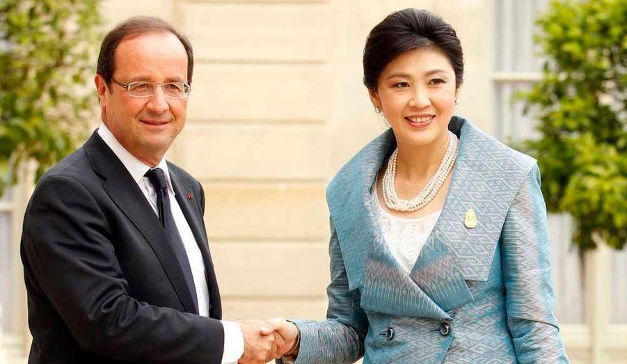 La première femme à occuper le poste de Premier ministre en Thaïlande, Yingluck Shinawatra, a été reçue ce vendredi par François Hollande à l'Elysée.