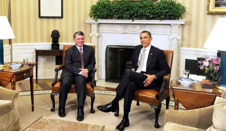 Barack Obama a reçu le roi de Jordanie, Abdallah II, mardi, à la Maison blanche, pour évoquer la relance du processus paix au Proche Orient, suite à la tenue récemment à Amman de réunions directes israélo-palestiniennes, les premières depuis septembre 2010.