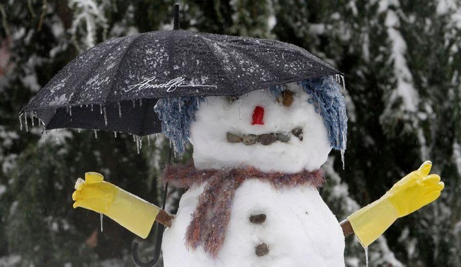 Un bonhomme de neige d'un jardin de Renton, dans l'Etat de Washington. Les tempêtes de verglas ont provoqué d'importants dégâts dans la région de Puget Sound, faisant une victime.