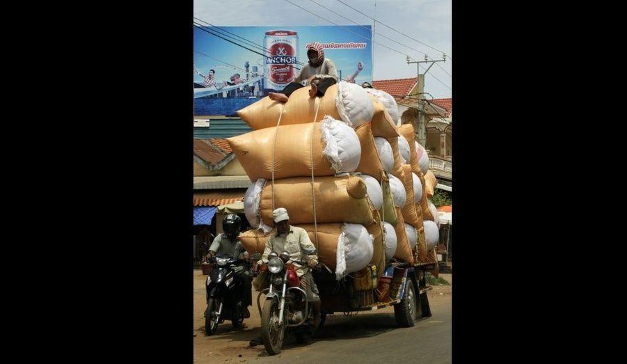 Au Cambodge, des hommes doivent ainsi parcourir plusieurs kilomètres en mobylette, tirant derrière eux une montagne de sacs de riz.