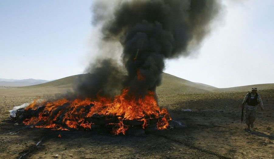 Plus de quatre tonnes de drogues sont incendiées pour être détruites, dans la province de Herat, en Afghanistan.