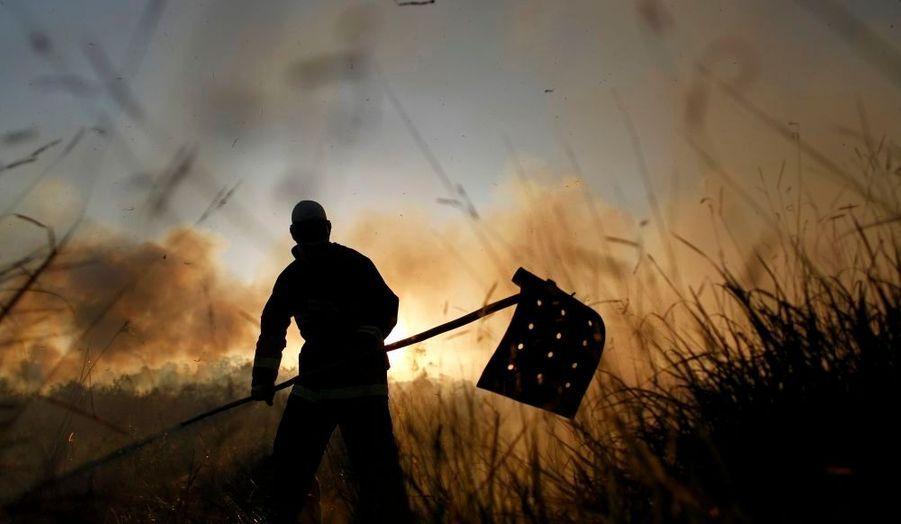 Les soldatsdu feu luttent contre un incendie dansune réserve forestièredans le nord deBrasilia. Un incendie vraissemblablement d'origine criminelle qui aurait détruit l'équivalent de cinq hectares.