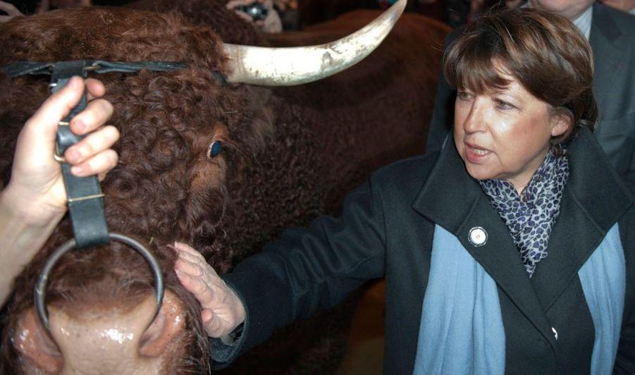La première secrétaire du Parti socialiste, Martine Aubry, au salon de l'agriculture.