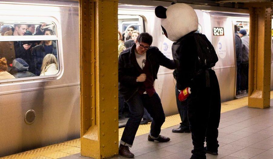 Un homme déguisé en panda se porte volontaire pour que des New-yorkais passent leurs nerfs sur lui dans le métro. Surnommé «Punch Me Panda», il est à la disposition de tous les utilisateurs du transport souterrain.