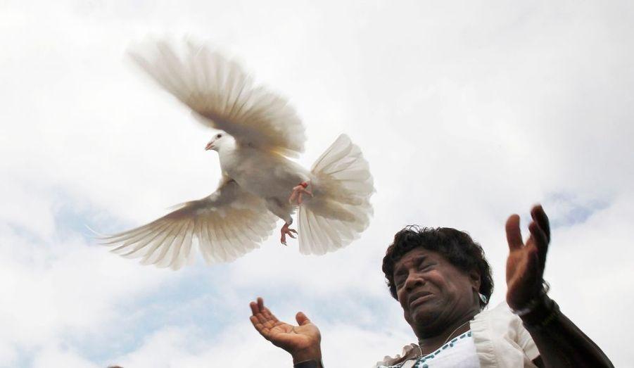 Au cimetière national d'Arlington (Washington D.C), une mère libère une colombe, à l'occasion de la commémoration des 5 ans de la mort de son fils en Afghanistan.