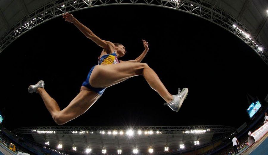L'Ukrainienne Olha Saladuha est en compétition pour le titre de championne du monde du triple-saut, à Daegu, en Corée du Sud.
