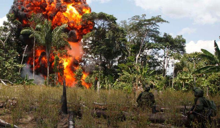 """Des militaires colombiens participent à l'opération """"Republica 73"""" dont le but est de démanteler les laboratoires de cocaïne alimentés par les Farcs."""
