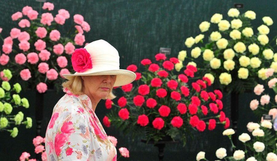 Une femme coiffée d'un chapeau orné d'une rose admire les magnifiques fleurs de l'exposition annuelle de Hampton Court près de Londres, qui célèbre son 20ème anniversaire en ce 6 juillet 2010.
