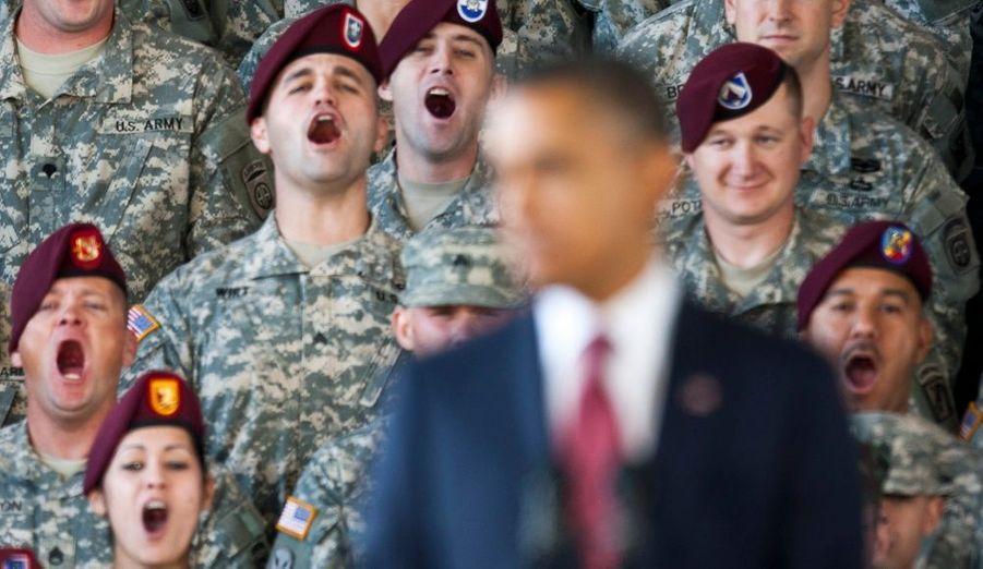 Des soldats ont assisté à l'allocution de Barack Obama à Fort Bragg, dans la localité de Fayetteville, en Caroline du Nord. Le président leur a rendu hommage, quelques jours avant la fin du retrait prévu de l'armée américaine d'Irak.