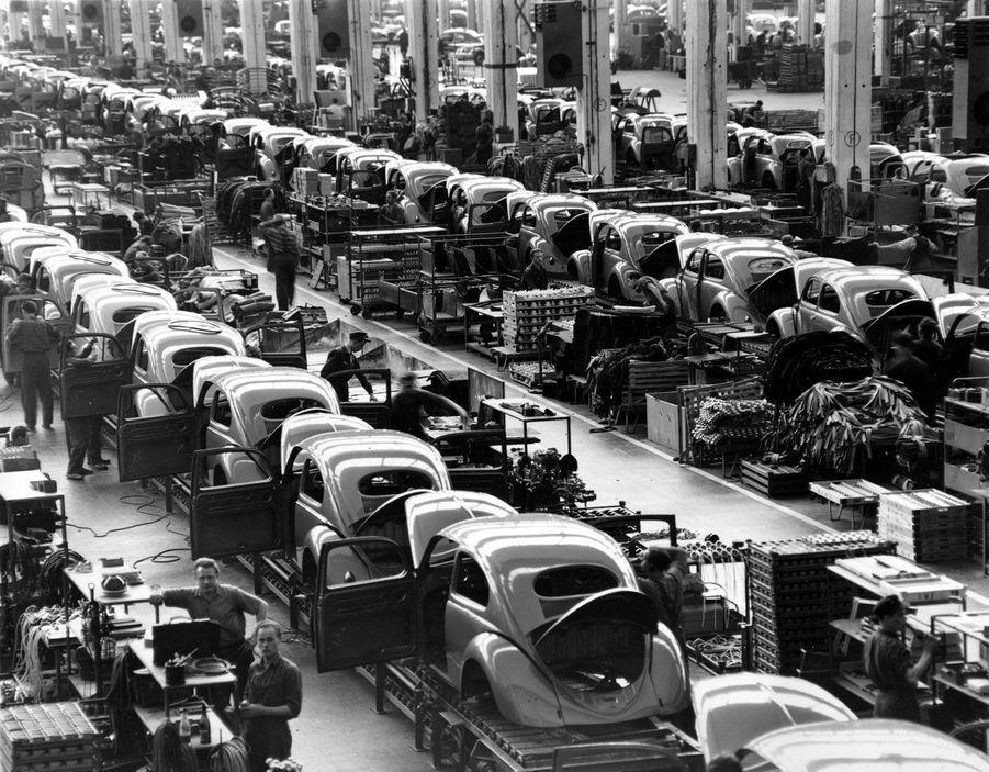 Environ 900 Coccinelle sont produites chaque jour sur les chaînes de l'usine de Wolfsburg en 1954.