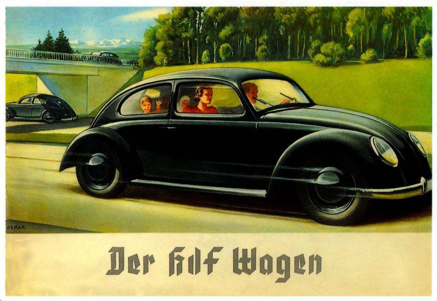 Image de propagande nazie des années 1930, montrant la «KdF Wagen», avant qu'elle ne soit baptisée «volkswagen». «KdF» signifie «Kraft durch Freude», «la force par la joie», nom de l'organisation nazie en charge des loisirs.