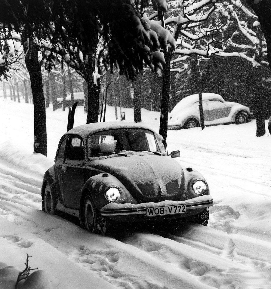 Une Coccinelle dans la neige, en 1974, en Allemagne.