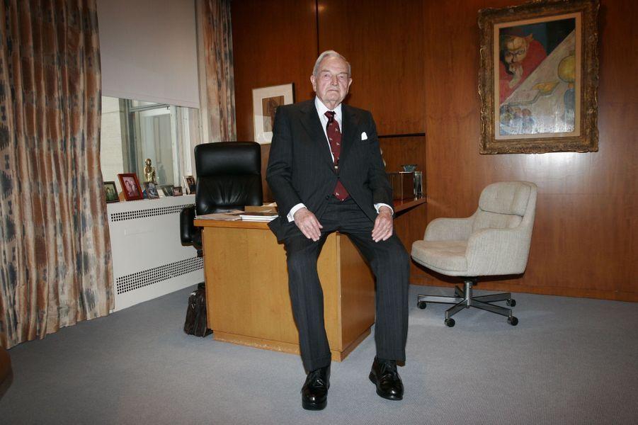 David Rockefeller au Rockfeller Center à New York