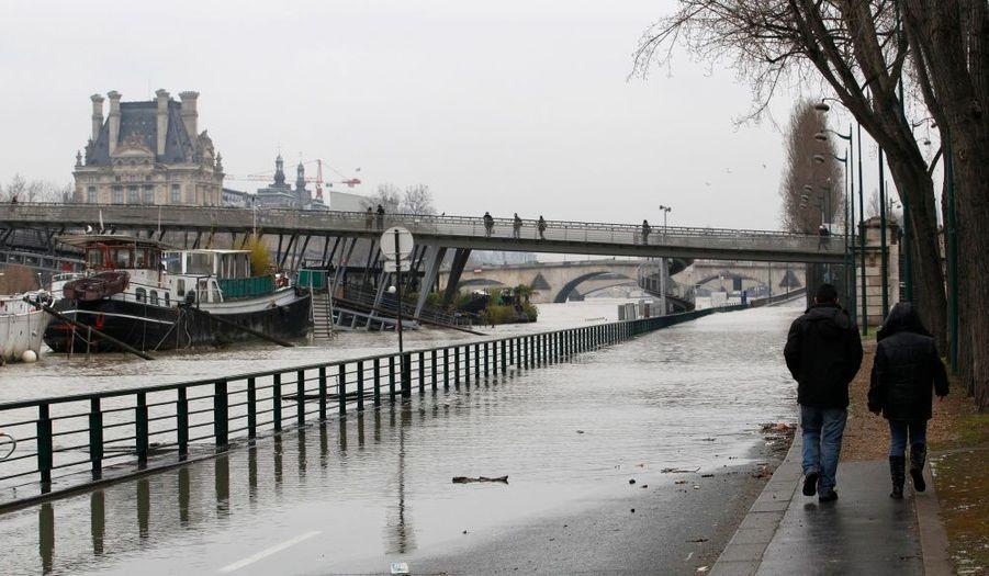 La fonte des neiges a fait monter le niveau de la Seine, qui est sortie de son lit au début du mois et n'y retourne pas depuis. Si certaines portions des quais ont été fermées, et certaines compagnies de bateaux ont suspendu leur trafic, le niveau n'a toutefois rien d'inquiétant et la décrue est attendue pour demain.