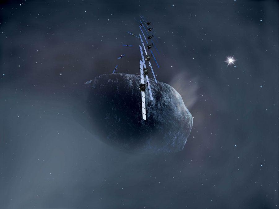 Vue d'artiste de la comète et de la sonde. A 11h30, mercredi, l'ESA annoncé un premier succès avec la mise sur orbite de Rosetta autour de la comète.
