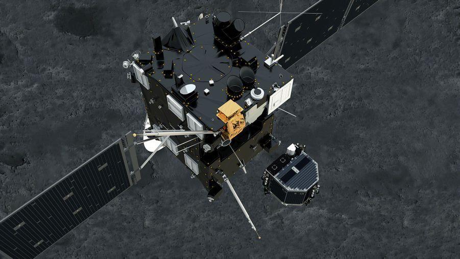 Une fois sa phase d'approche terminée, la sonde Rosetta se situera à environ 2,5 km du coeur de la comète. Un module baptisé Philae doit alors descendre sur la comète. Cette phase très périlleuse se déroulera en novembre. La comète et la sonde voyageront alors à une vitesse d'environ 18 km par seconde.