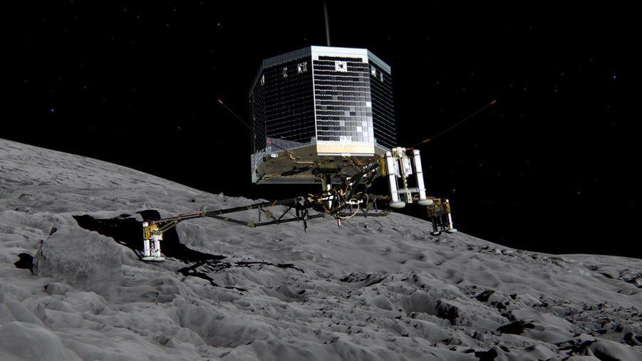 Vue d'artiste du module Philae sur la surface de67P/Tchourioumov-Guérassimenko. L'atterrissage est plein d'inconnues : le sol sera-t-il mou ou très dur? Philae est équipé pour ne pas s'enfoncer dans le premier cas et pour pouvoir planter des harpons dans le second. Philae embarque une batterie d'instruments qui vont permettre d'en savoir plus sur la composition des comètes, des corps célestes susceptibles de livrer les secrets de l'histoire du système solaire.
