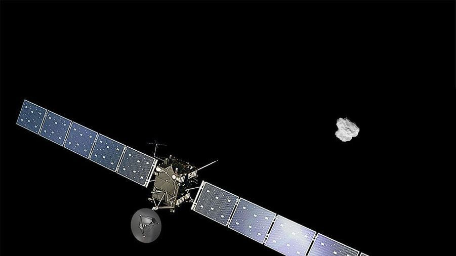 Vue d'artiste de la sonde Rosetta en approche de la comète. Au mois de juin dernier, Rosetta a déjà pu observer que de l'eau s'évaporait de la comète. Le phénomène est alors modeste en raison du grand éloignement de la comète par rapport au soleil. Au fur et à mesure que67P/Tchourioumov-Guérassimenko se rapprochera du soleil, il s'accentuera.