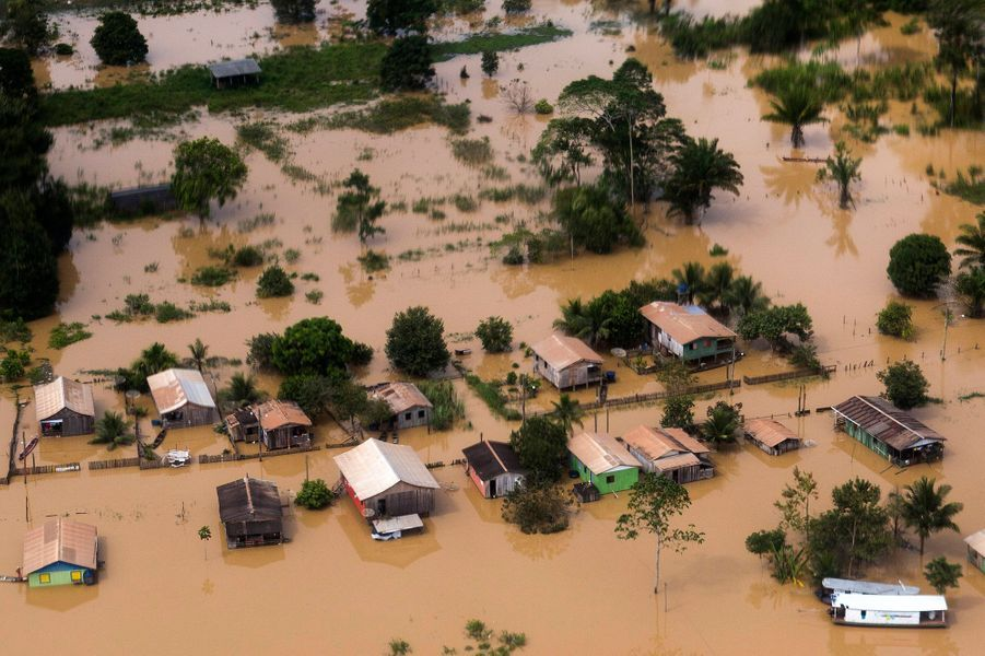 A view of a neighbourhood flooded by the Purus river, which continues to rise from days of heavy rainfall in the region, in Boca do Acre