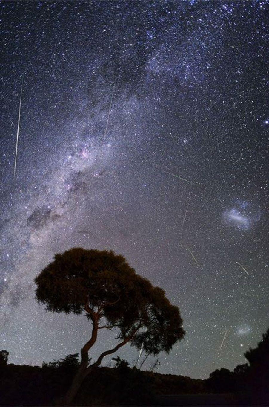 «Chaque année au mois de décembre, les observateurs du ciel peuvent assister aux Géminides, la traditionnelle pluie d'étoiles filantes. En 2012, le spectacle a été tout simplement grandiose, le plus beau du genre qu'il m'ait été donné d'observer. Un véritable bombardement cosmique. L'image est un compositage, c'est-à-dire une superposition de plusieurs clichés, réalisé sur une durée de trente minutes depuis le même endroit. Huit étoiles filantes sont observables.» Visitez le site de Luc Perrot :www.lucperrot.frEt sa page Facebook :www.facebook.com/lucperrotphoto