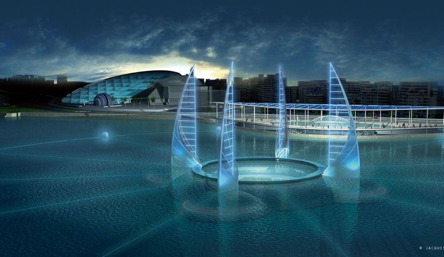 Le futur musée sous-marin d'Alexandrie : 22 000 mètres carrés. Les quatre voiles en polycarbonate ne sont pas fonctionnelles, elles indiquent les quatre points cardinaux. Leur forme rappelle celle des felouques.