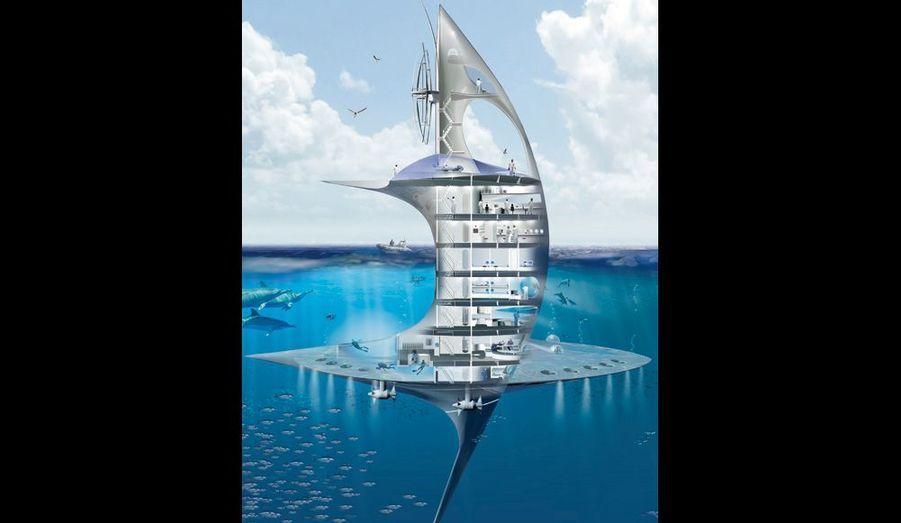 Le « SeaOrbiter » emportera un sous-marin et d'autres engins d'exploration profonde comme le ROV. Coque en aluminium, poids : 1 000 tonnes, lest : 550 tonnes, carburant : biofioul. Le pont supérieur est tapissé de capteurs solaires.