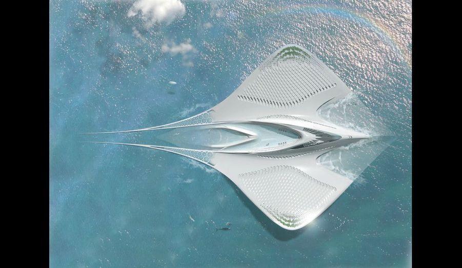 Le lagon intérieur de cette ville scientifique révolutionnaire servira de port à des navires océanographiques. Autonome, elle utilisera les énergies marines renouvelables. Totalement écologique, elle ne rejettera aucun déchet.