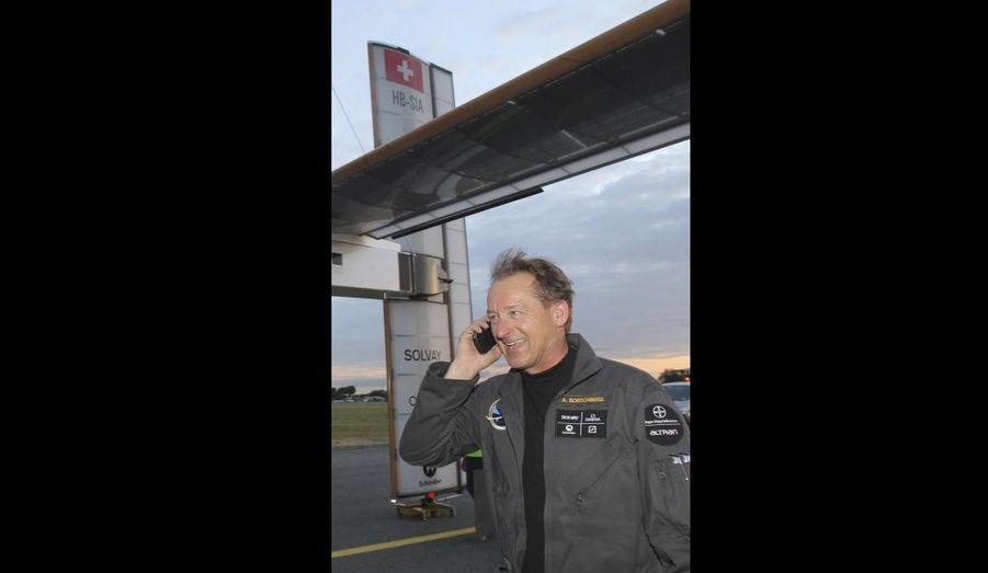 André Borschberg s'est empressé d'informer ses proches de la réussite de son vol.