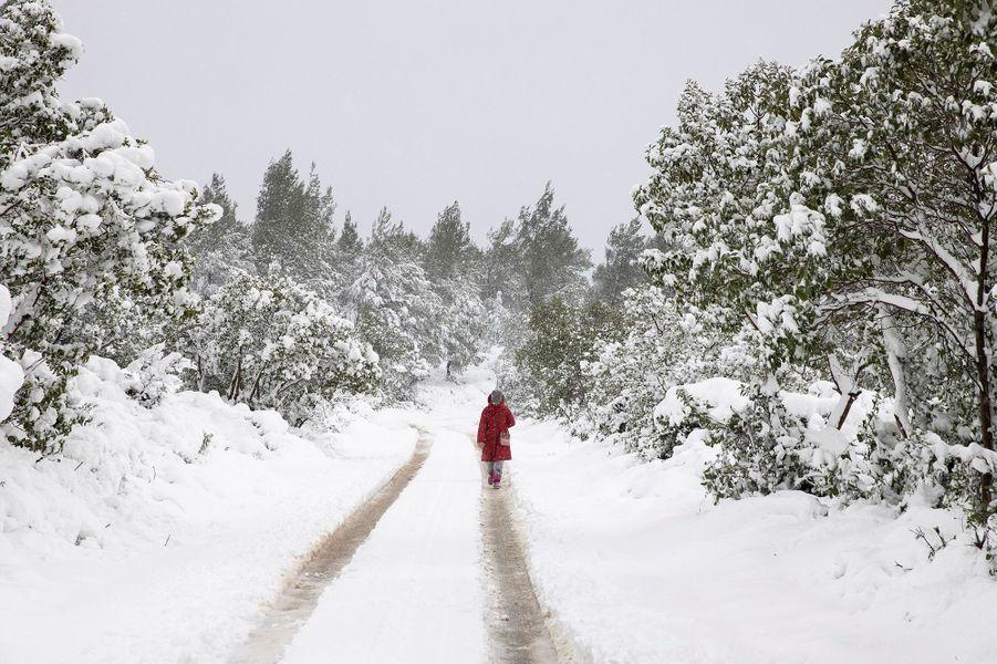 Une femme marche sous la neige dans le village deKrioneri.