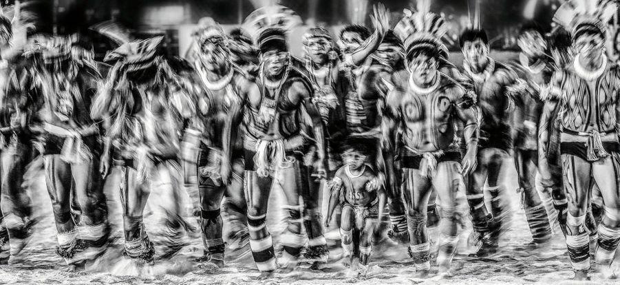 Des Yawalapiti durant les premiers Jeux mondiaux des peuples autochtones, en 2015, dans l'Etat du Tocantins.