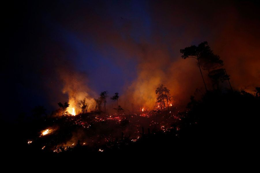 Les incendies en Amazonie sont la conséquence directe de la déforestation, des agriculteurs pratiquant le brûlis sur des aires déboisées pour y faire paître du bétail. Les hommes du ministère brésilien de l'Environnement tentent d'arrêter ces feux.