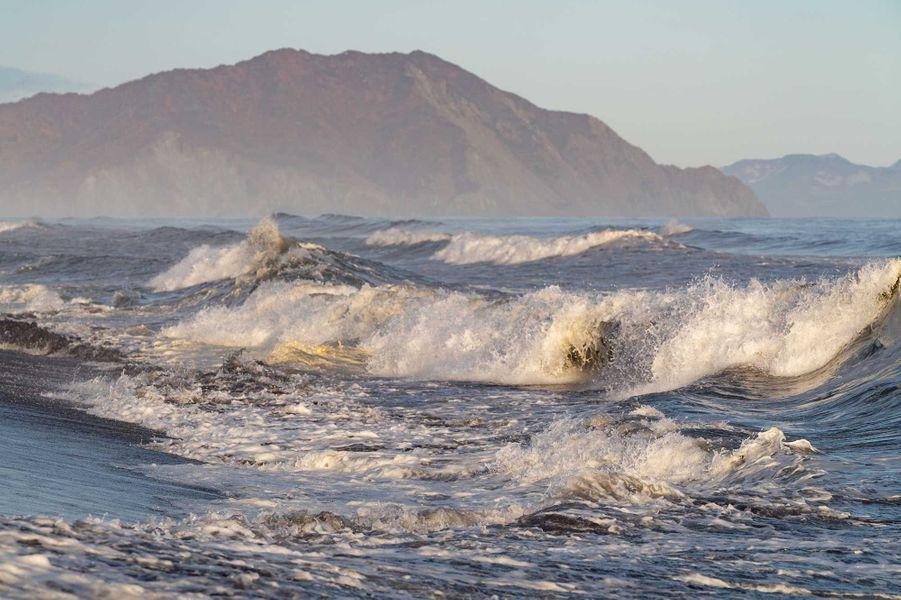 Sur la côte de la péninsule russe du Kamtchatka, l'écume prend une couleur jaunâtre.
