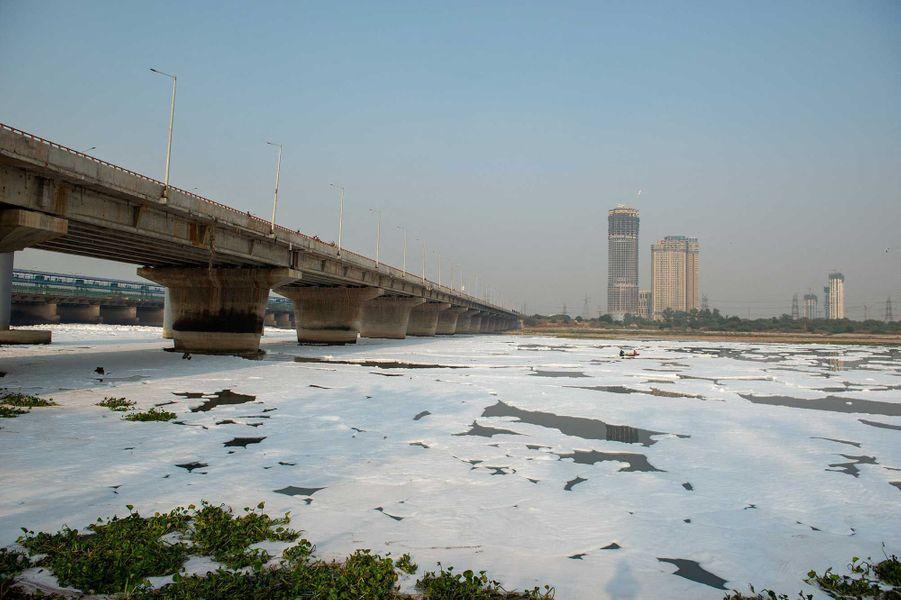 D'épais îlots de mousse flottent à la surface de la rivière Yamuna, à New Delhi.